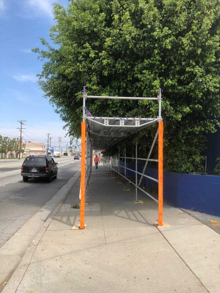 Pedestrian Canopy Services by Major Scaffold Los Angeles